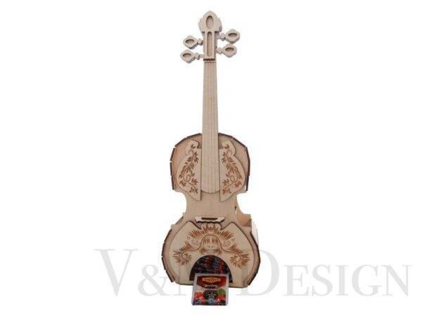 Lesena violina za čajne vrečke